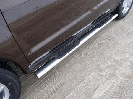 Geely Emgrand X7 2015- Пороги овальные с накладкой 120х60 мм